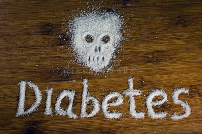 Diabète d'inscription de crâne de sucre sur la table images libres de droits