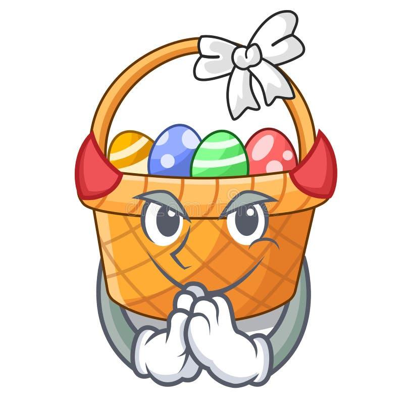 Diabła Easter kosza miniatura kształt maskotka ilustracja wektor