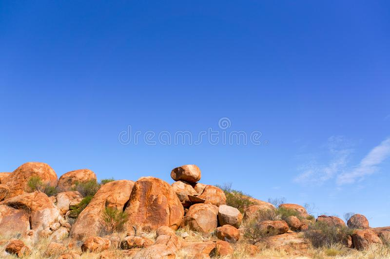 Diabła Marbels park narodowy, odludzie Australlia, terytorium północne fotografia stock
