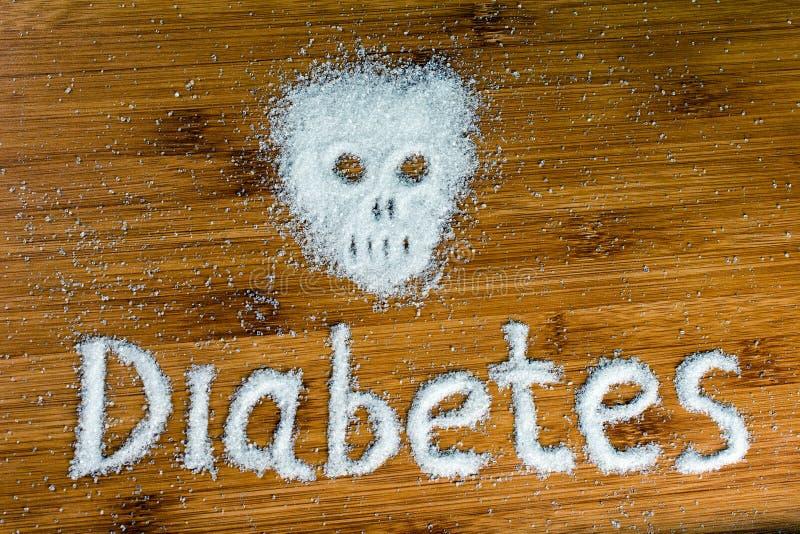 Diab?te d'inscription de cr?ne de sucre sur la table photographie stock libre de droits