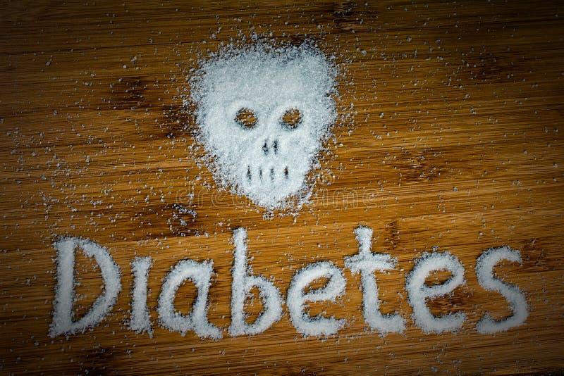 Diab?te d'inscription de cr?ne de sucre sur la table images libres de droits