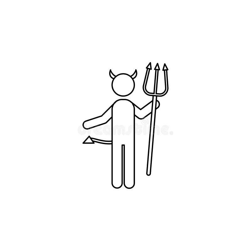Diabeł kreskowa ikona ilustracja wektor