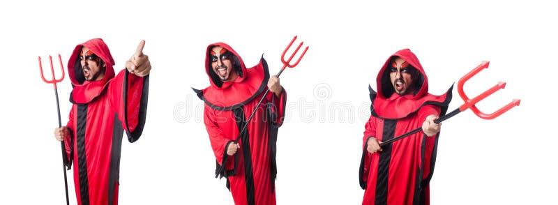 Diabeł mężczyzny w czerwonym kostiumie fotografia royalty free