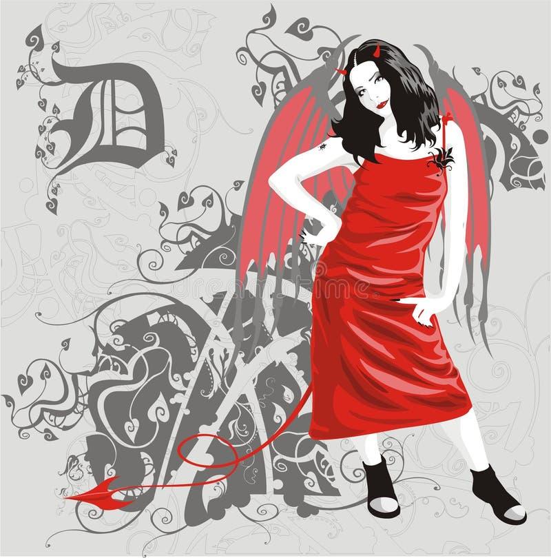 diabelska dziewczyna ilustracja wektor