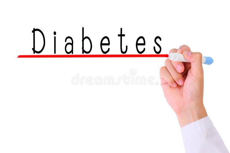 Diabete di scrittura della mano di medico fotografia stock