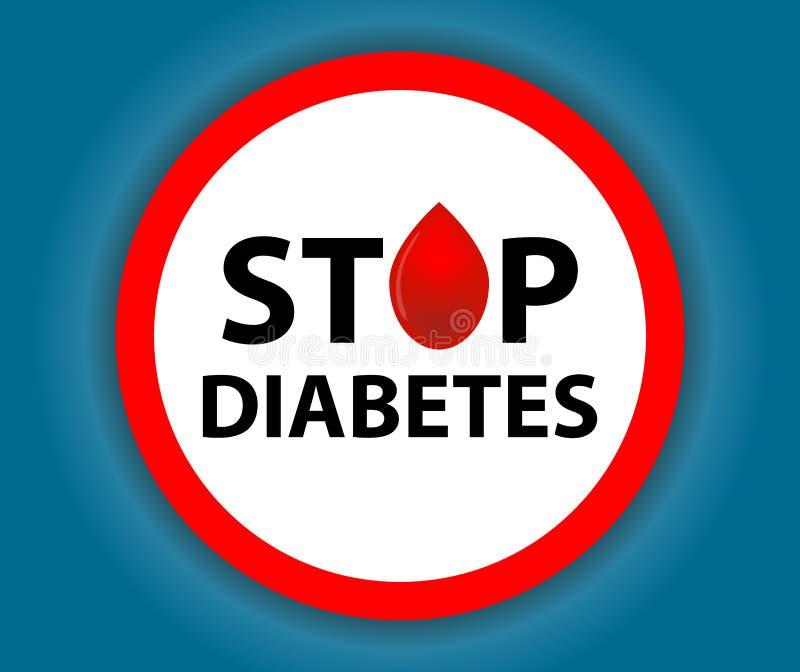 Diabete rotondo di arresto del segno con una goccia Simbolo medico Vettore royalty illustrazione gratis