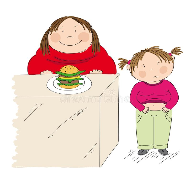 Diabetes awareness. Stop obesity. Fat mother and her child. Diabetes awareness. Stop obesity. Fat mother looking forward to eat hamburger. Her daughter, little vector illustration