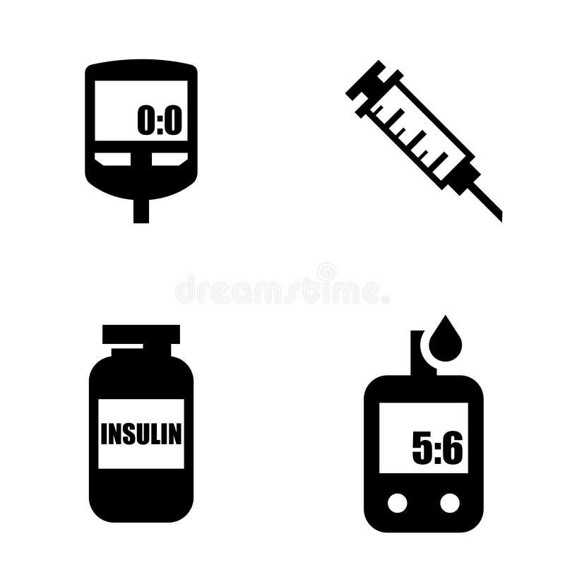 Diabetes black icon set. Blood Glucose Test. stock illustration