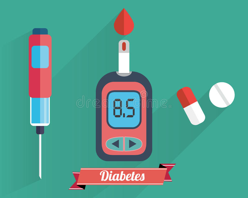 Diabetes Blood Glucose Test - Hand applying blood drop to test strip of Glucose Meter - Flat icon set vector illustration