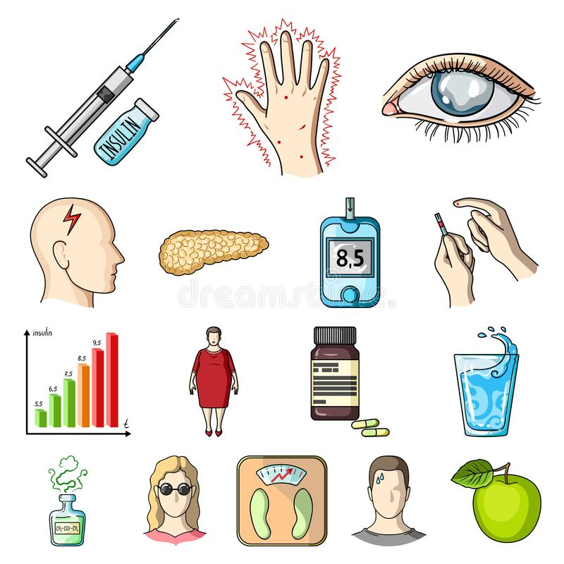 Diabetes cartoon icons in set collection for design. Treatment of diabetes vector symbol stock illustration vector illustration