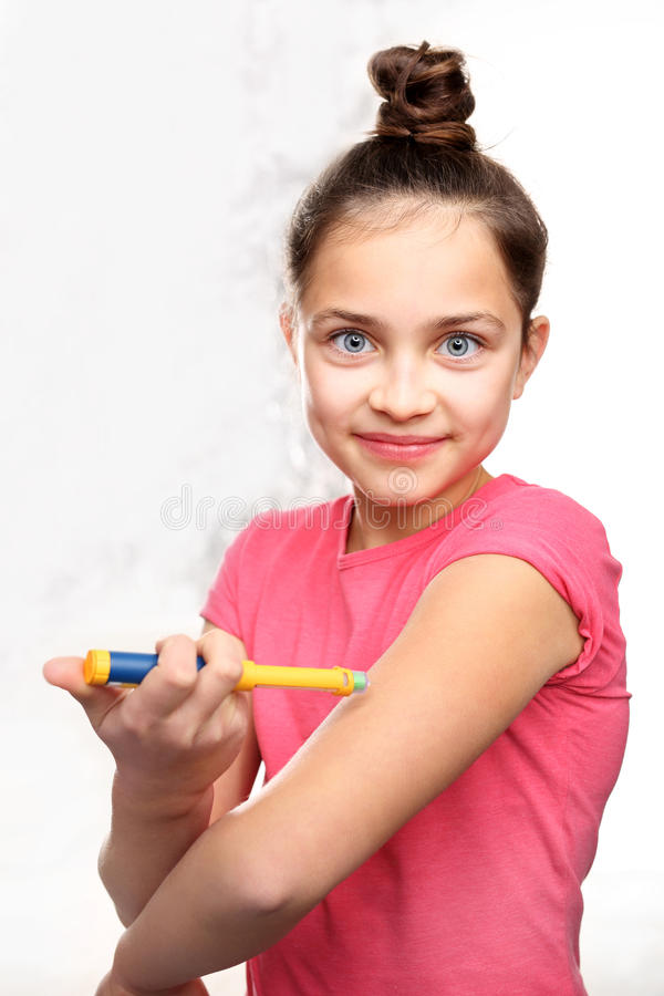 Diabetes, child take insulin royalty free stock images