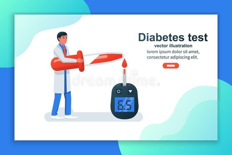 Diabetes concept. Blood test vector royalty free illustration