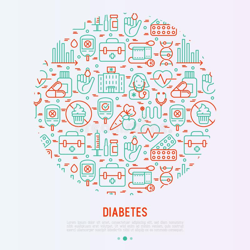 Diabetes concept in circle with thin line icons vector illustration