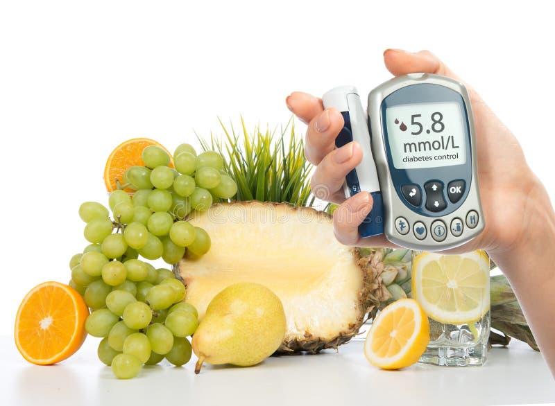 Diabetes concept glucose meter healthy organic food stock photos