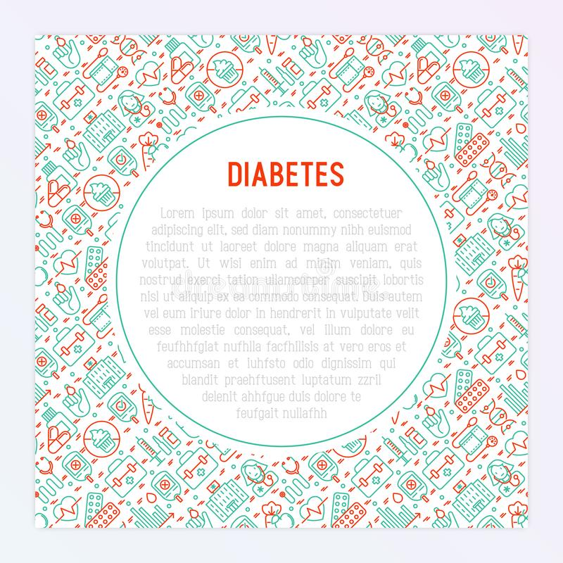 Diabetes concept with thin line icons. Of symptoms and prevention care. Vector illustration for background of medical survey or report, for banner, web page stock illustration