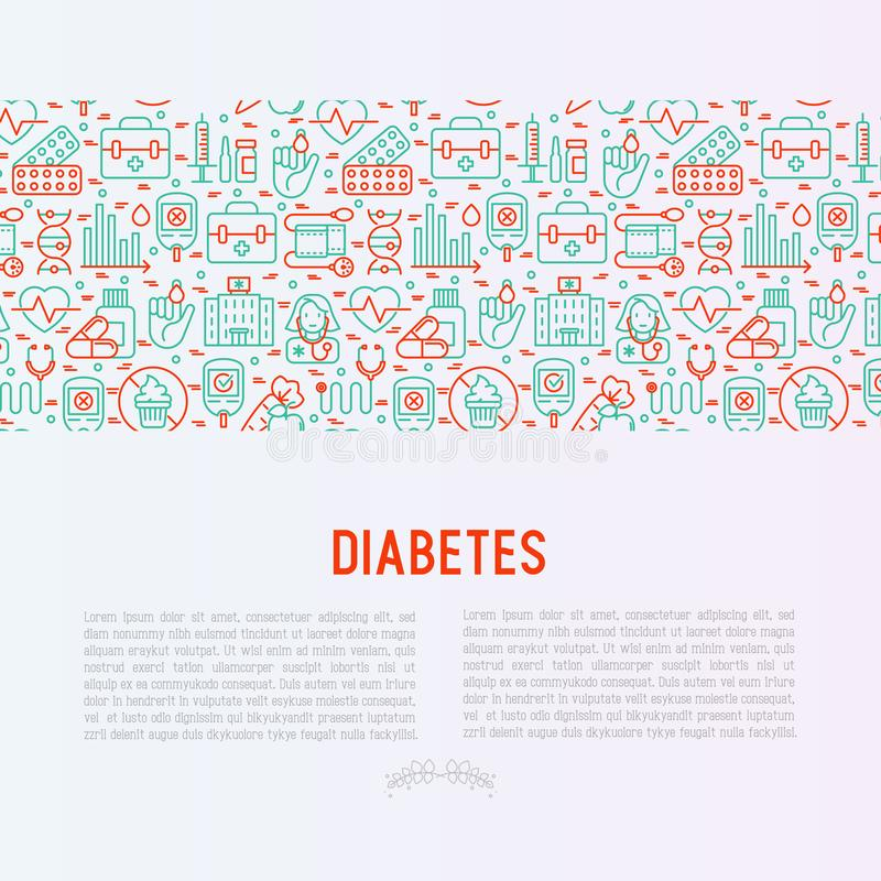 Diabetes concept with thin line icons. Of symptoms and prevention care. Vector illustration for background of medical survey or report, for banner, web page vector illustration