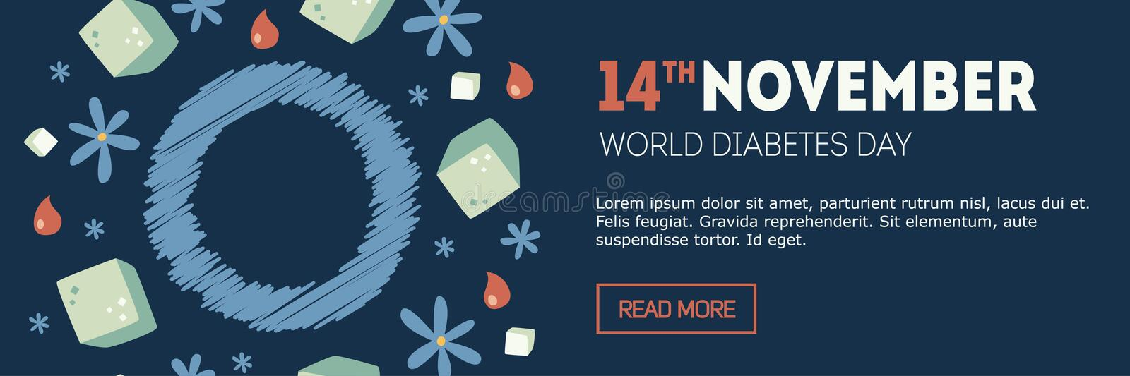 Diabetes day banner stock image