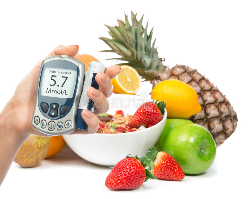 Diabetes diabetic concept glucose meter in hand and healthy organic food stock photo