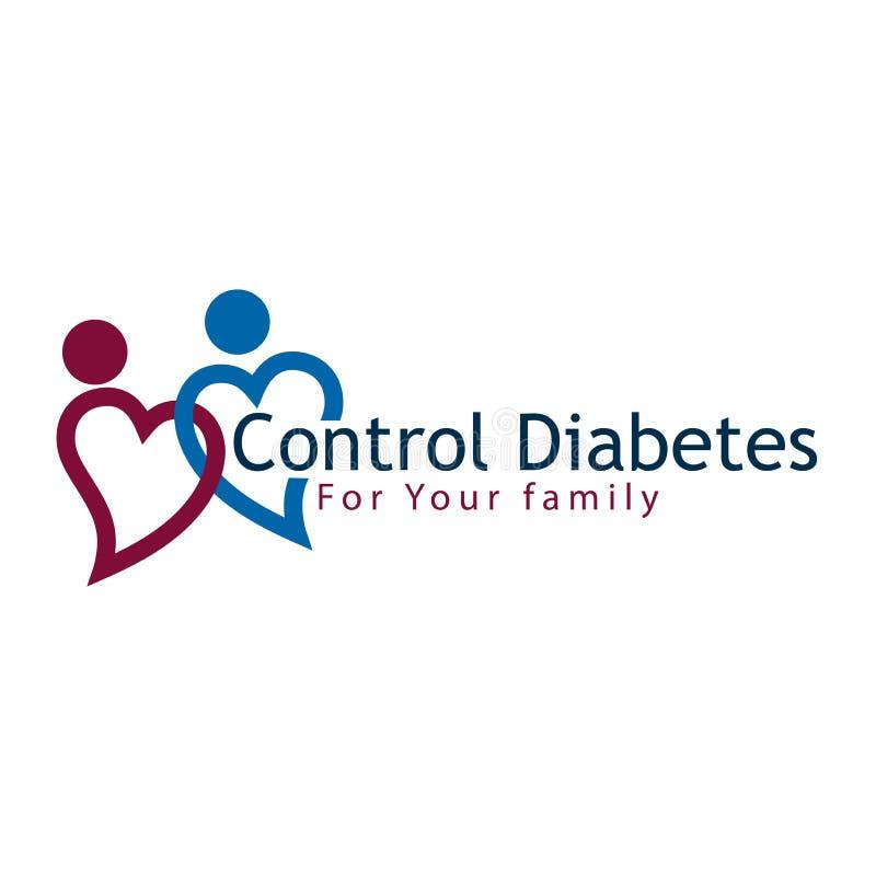 Diabetes do controle para a ilustração do vetor da família, projeto liso ilustração royalty free