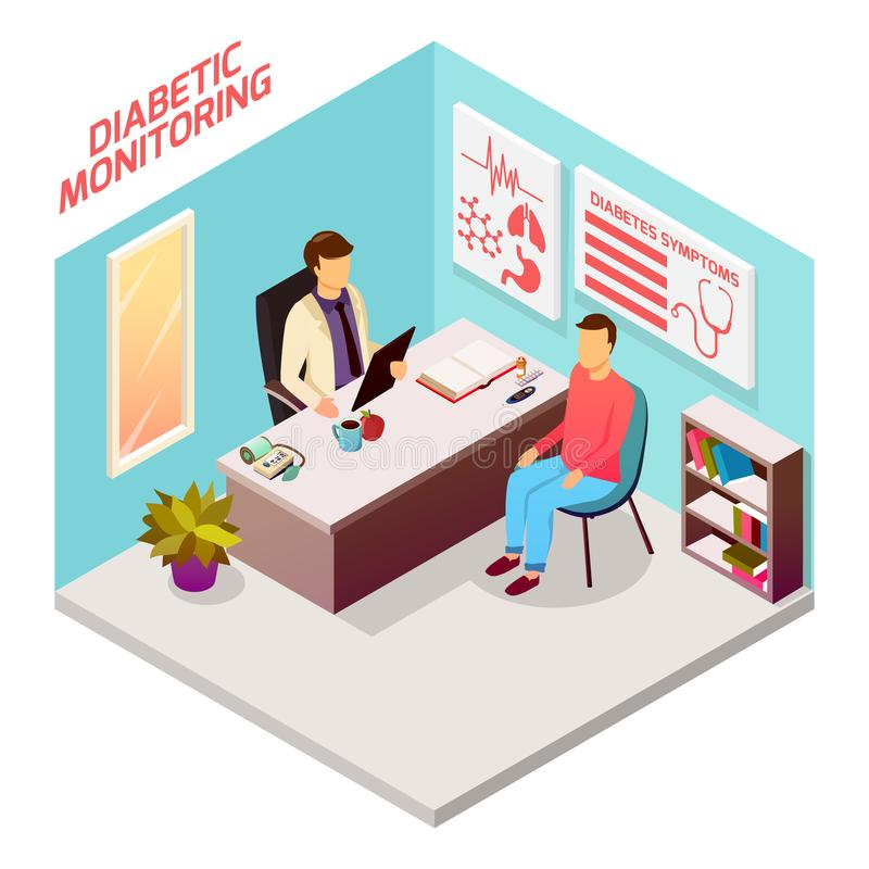 Diabetes Doctor Patient Isometric Composition. Diabetes control isometric composition with patient on reception at doctor, office interior elements 3d vector stock illustration
