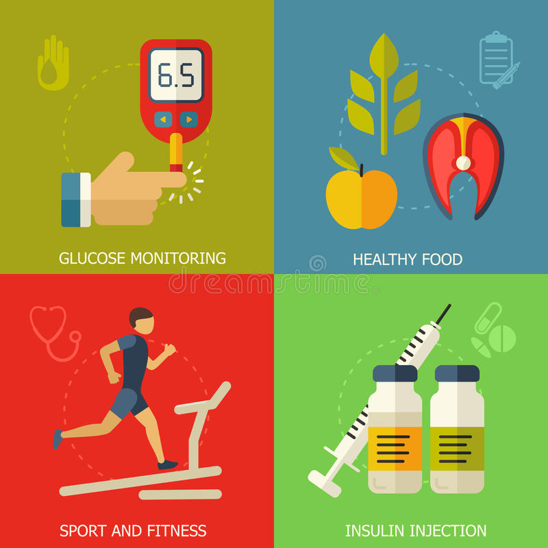 Diabetes flat style vector background stock illustration