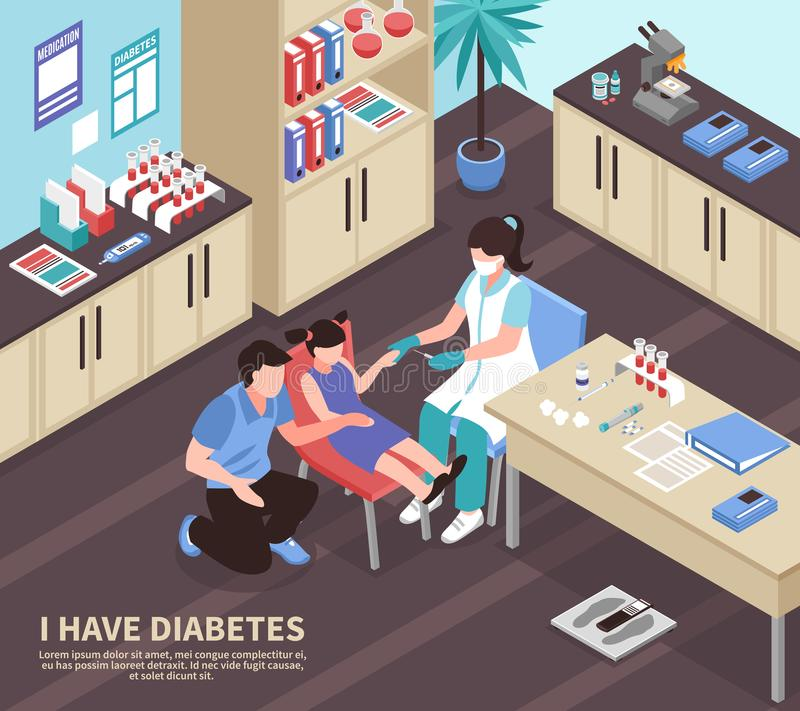 Diabetes Hospital Isometric Composition royalty free illustration
