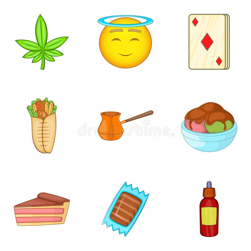 Diabetes icons set, cartoon style vector illustration