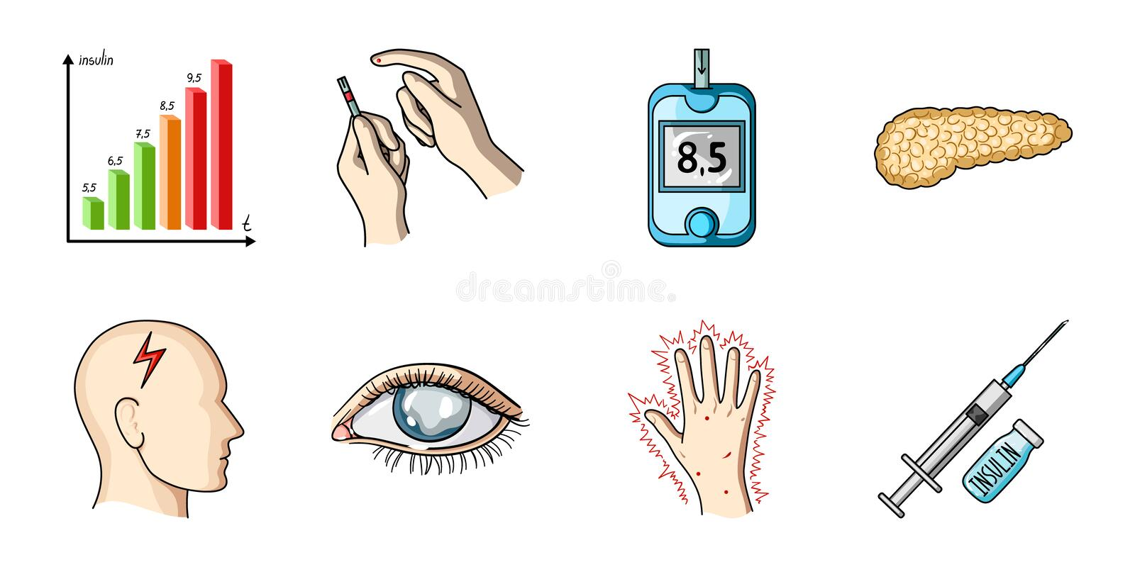Diabetes icons in set collection for design. Treatment of diabetes vector symbol stock web illustration. vector illustration