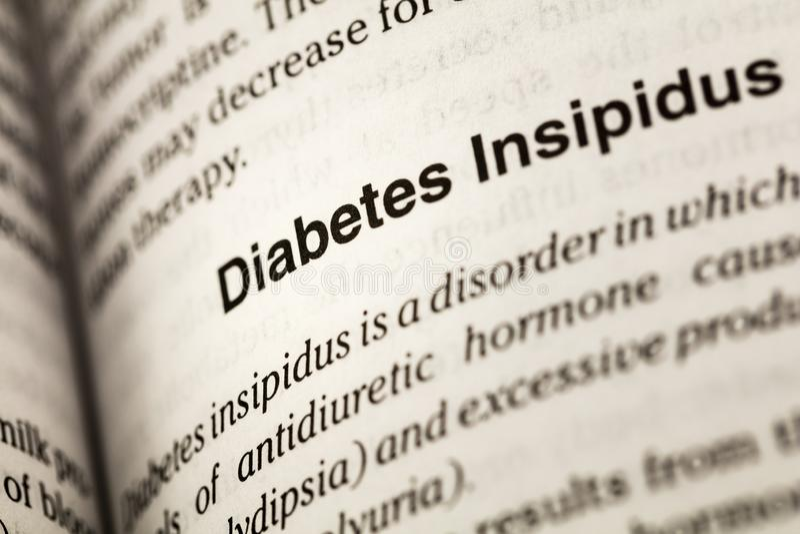 Diabetes insipidus-Art Hormonwörterbuch lizenzfreie stockbilder