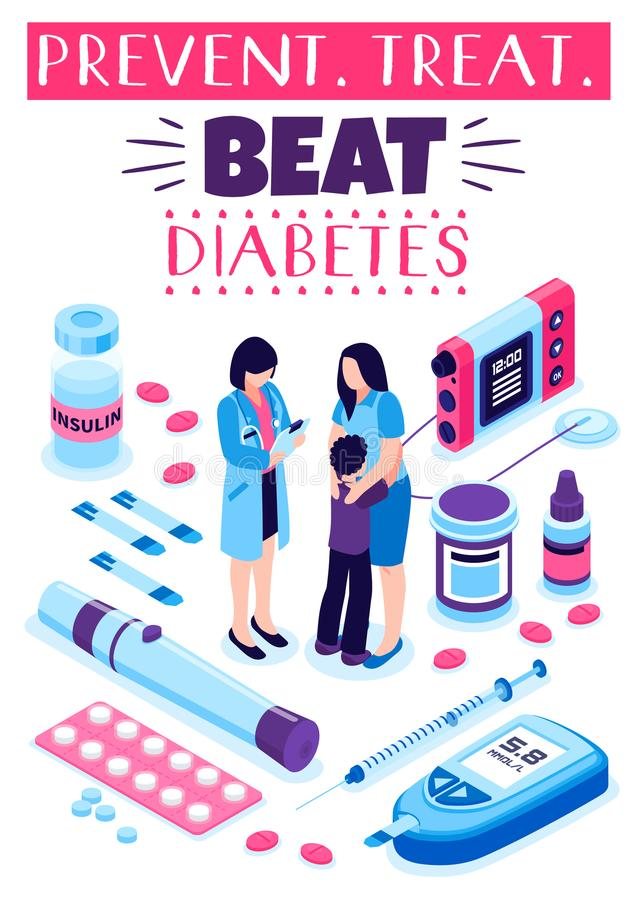 Diabetes Prevention Treatment Poster stock illustration