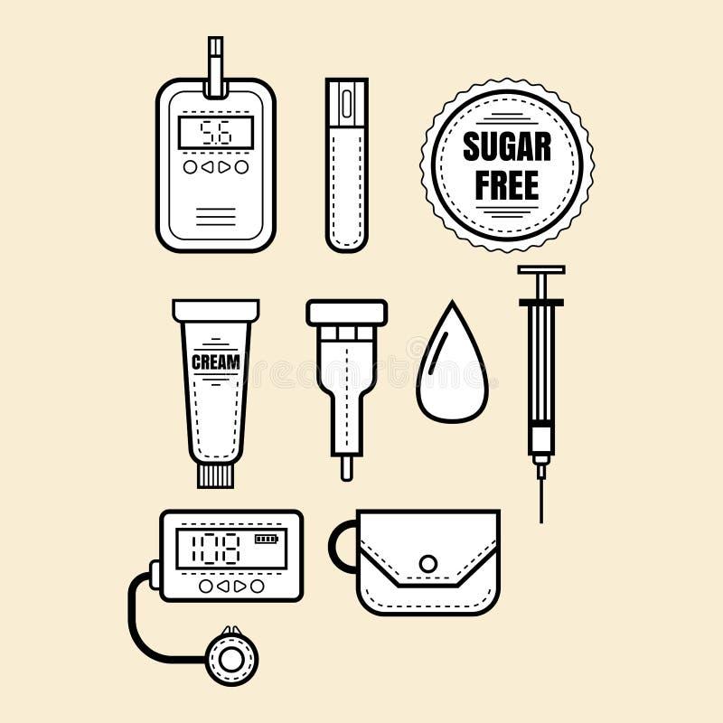 diabetes Reeks lineaire pictogrammen, voorwerpen Glucometer, insuline vector illustratie