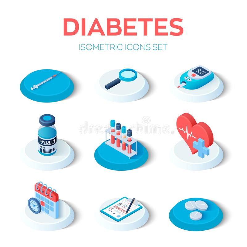 Diabetes - set isometrische pictogrammen Bloedglucosemeter, pillen, injectiespuit, insulineflacon, agenda, zoekpictogram Diabetes vector illustratie