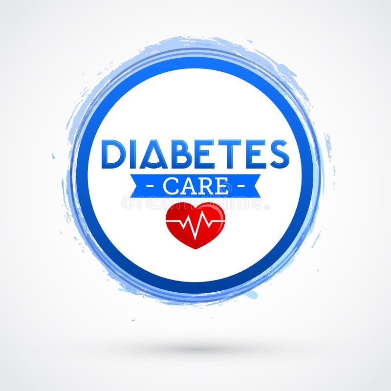 Diabetes-Sorgfaltvektor-Ikonendesign, blaues Kreisemblem vektor abbildung