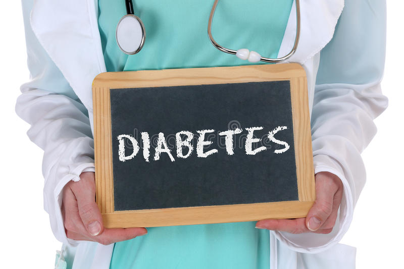 Diabetes sugar disease ill illness healthy health doctor. With sign royalty free stock photography