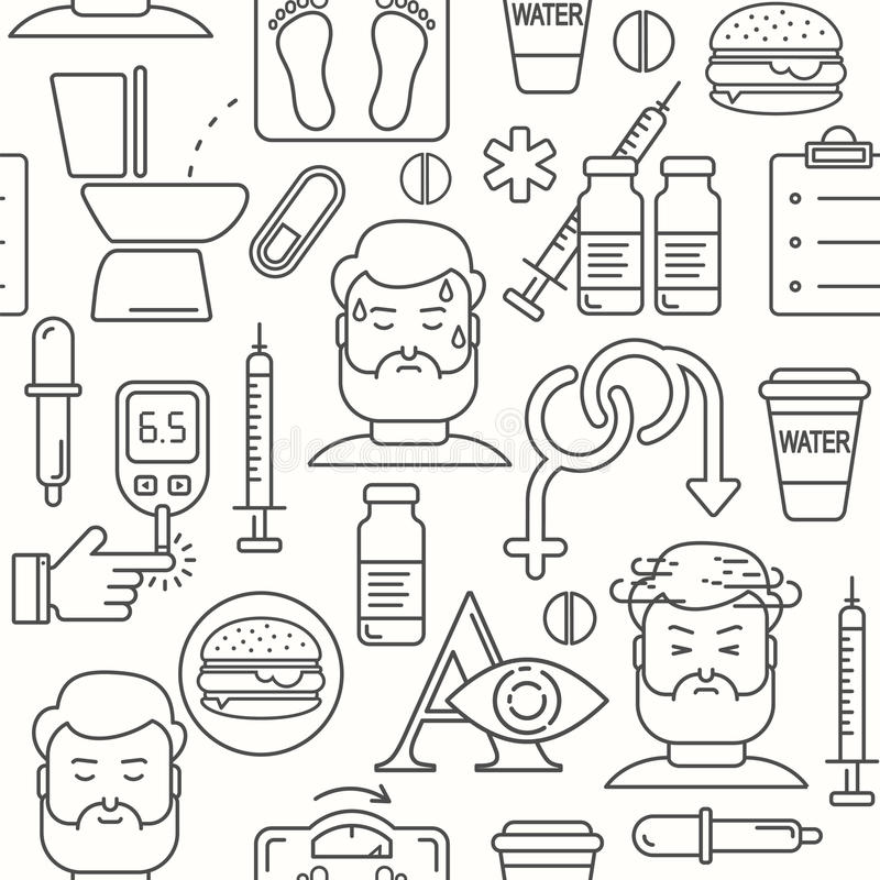 Diabetes symptoms and control line style seamless vector background stock illustration