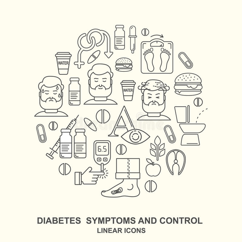 Diabetes symptoms and control line style vector background stock illustration