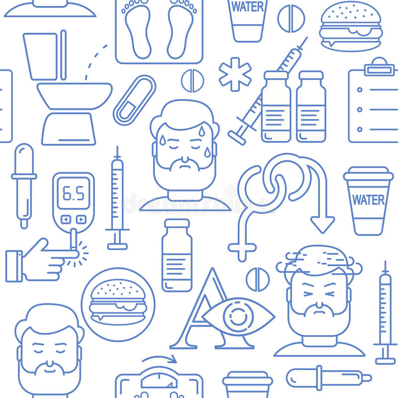 Diabetes symptoms and control line style vector seamless background with blue icons stock illustration