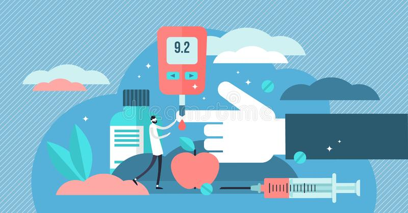 Diabetes vector illustration. Flat tiny sugar level in blood person concept stock illustration