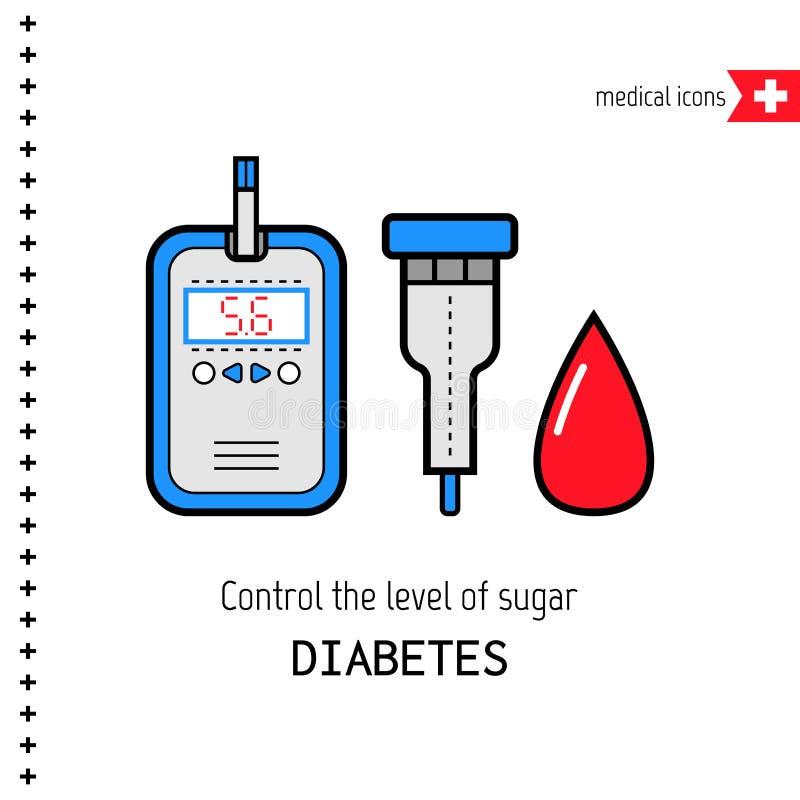 Diabetes, vlakke pictogrammen royalty-vrije illustratie