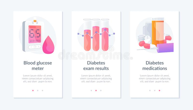 Diabetes webpage template. royalty free illustration