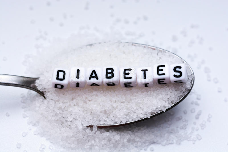 Diabetes word formed with plastic letter beads placed in a spoon full of sugar royalty free stock photo