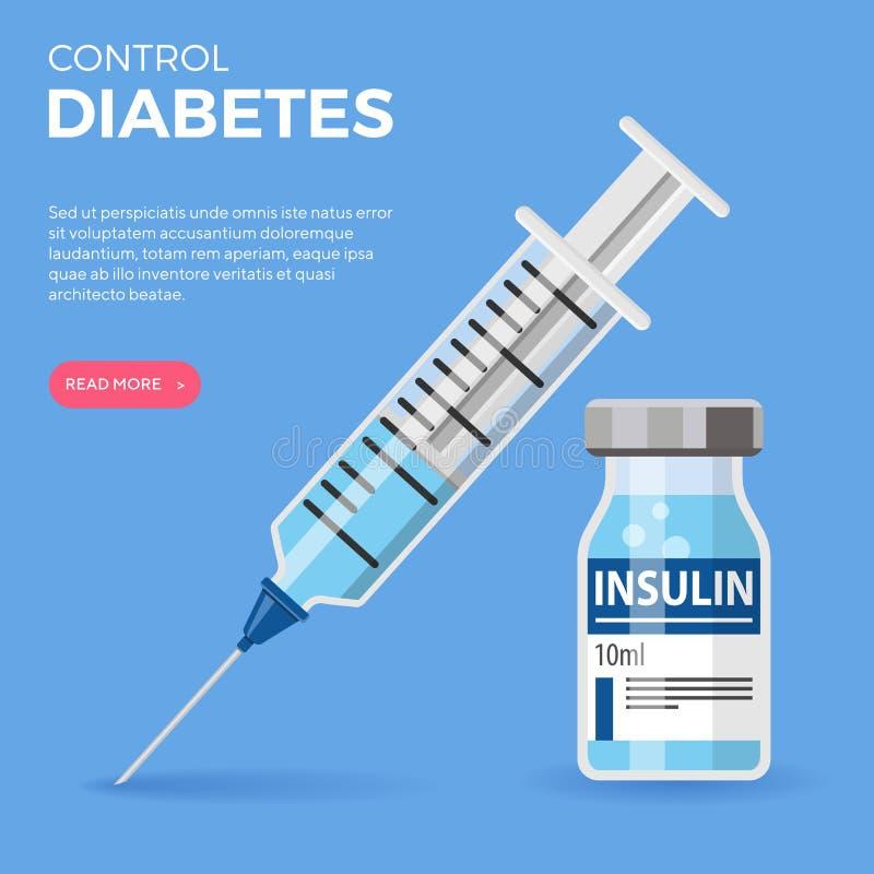 Diabetesinsuline Vial Syringe stock illustratie