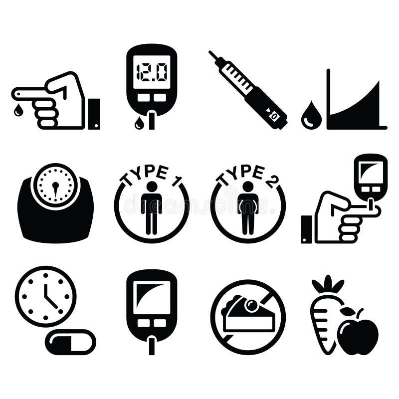 Diabetesziekte, geplaatste gezondheidspictogrammen royalty-vrije illustratie