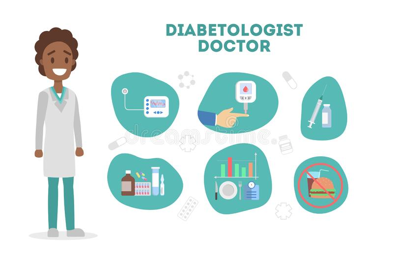 Diabetic treatment and sugar control. Diabetes prevention vector illustration