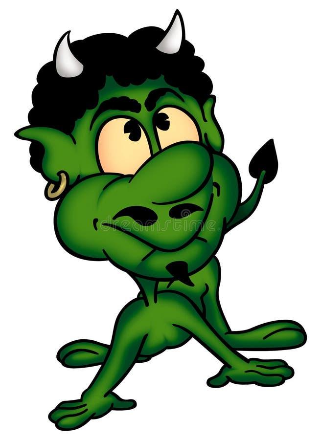 Diable agréable vert illustration de vecteur