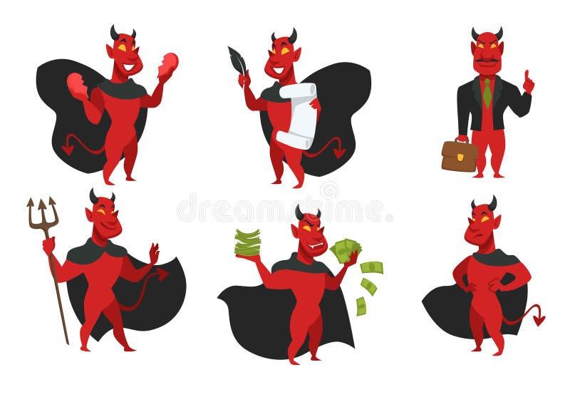 Diable d'enfer de démon dans le manteau noir avec la peau et le trident rouges illustration stock