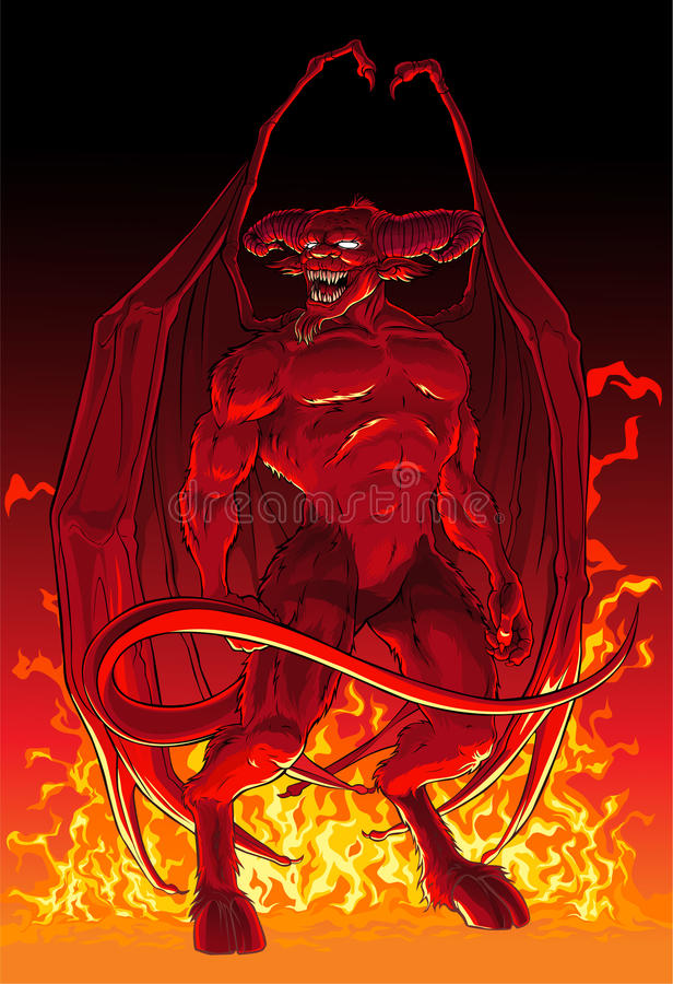 Diable en feu illustration libre de droits