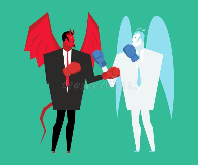 Diable et ange de combat Satan et un dieu enferme dans une boîte illustration libre de droits