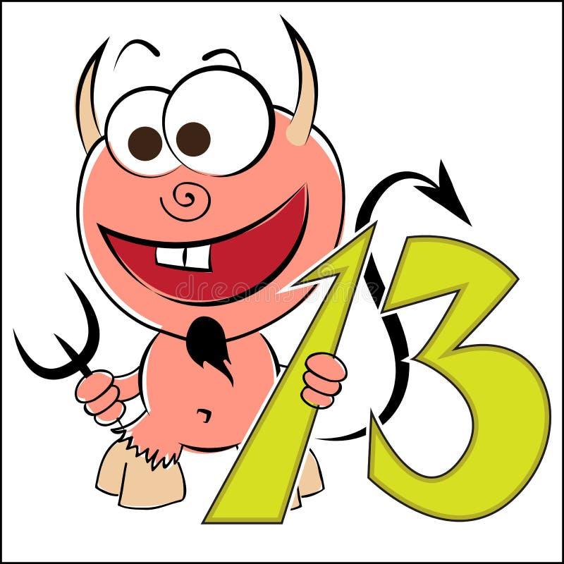Diable gai avec le numéro treize illustration stock