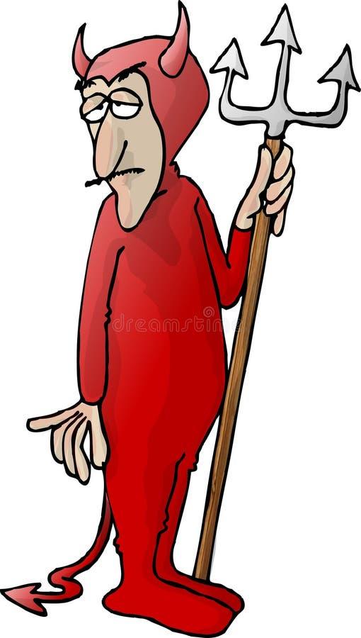 Diable rouge avec une fourche illustration stock